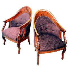 Antique Continental Pair of Walnut Library Chairs