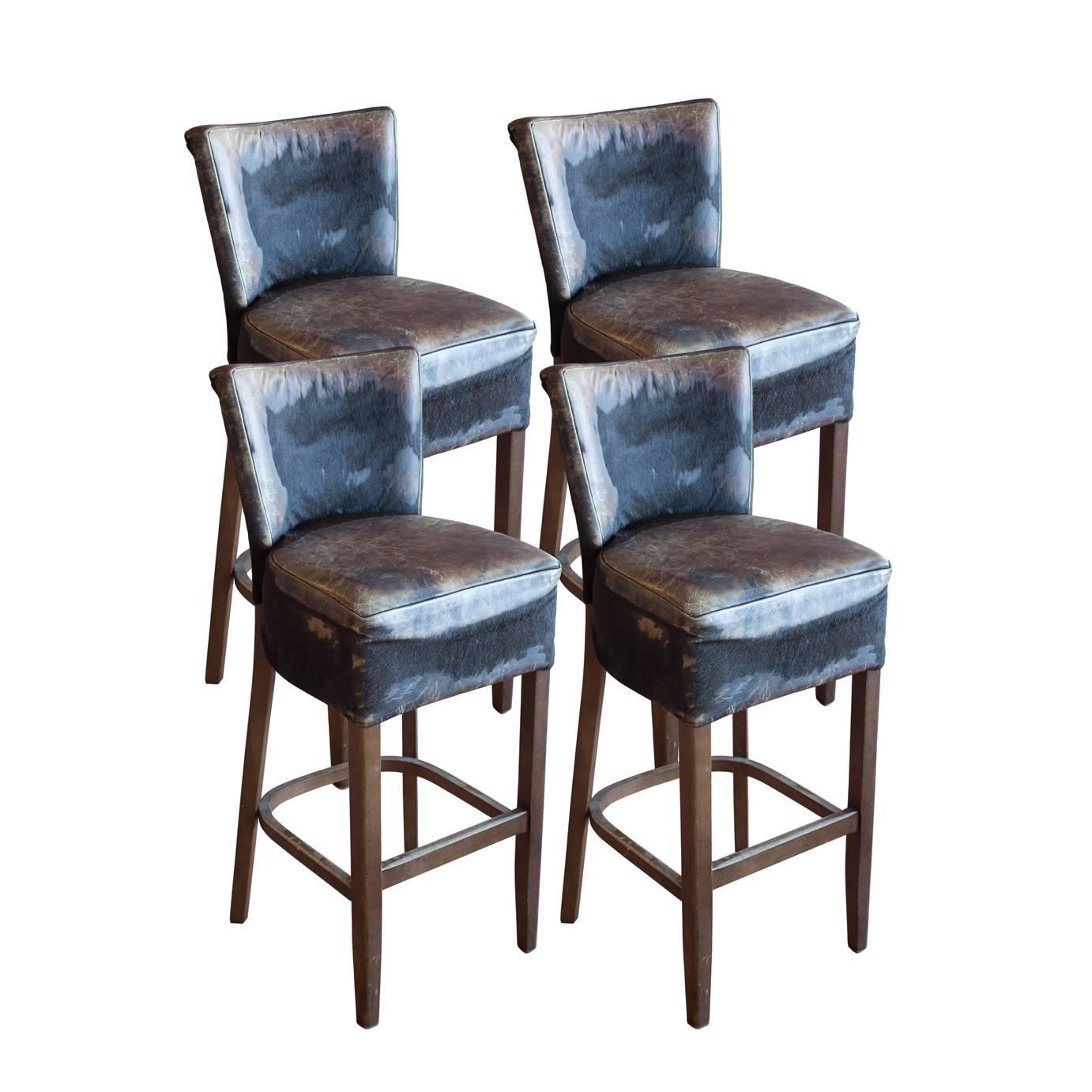 Set Of Four Mid Century Bar Stools In Cowhide At 1stdibs