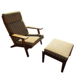 Original Upholstery Hans Wegner Lounge Chair with Ottoman for Getama