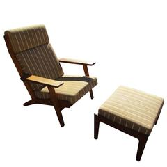 Vintage Midcentury Hans Wegner Lounge Chair with Ottoman for Getama