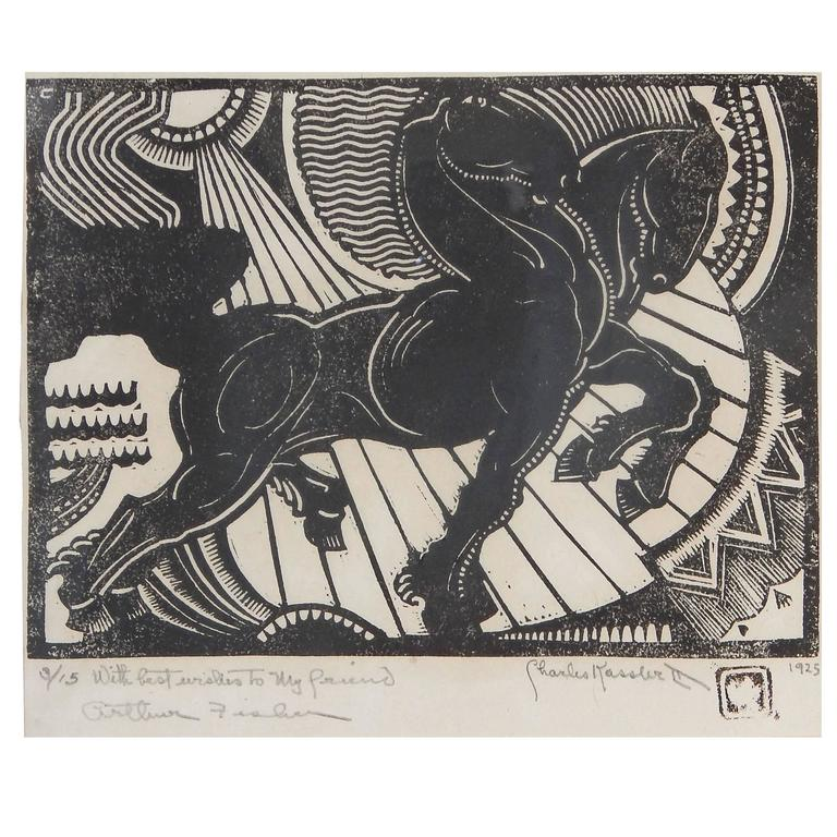 """""""Horses in the Sun,"""" Remarkable Woodblock Print by Charles Kassler, Art Deco For Sale"""