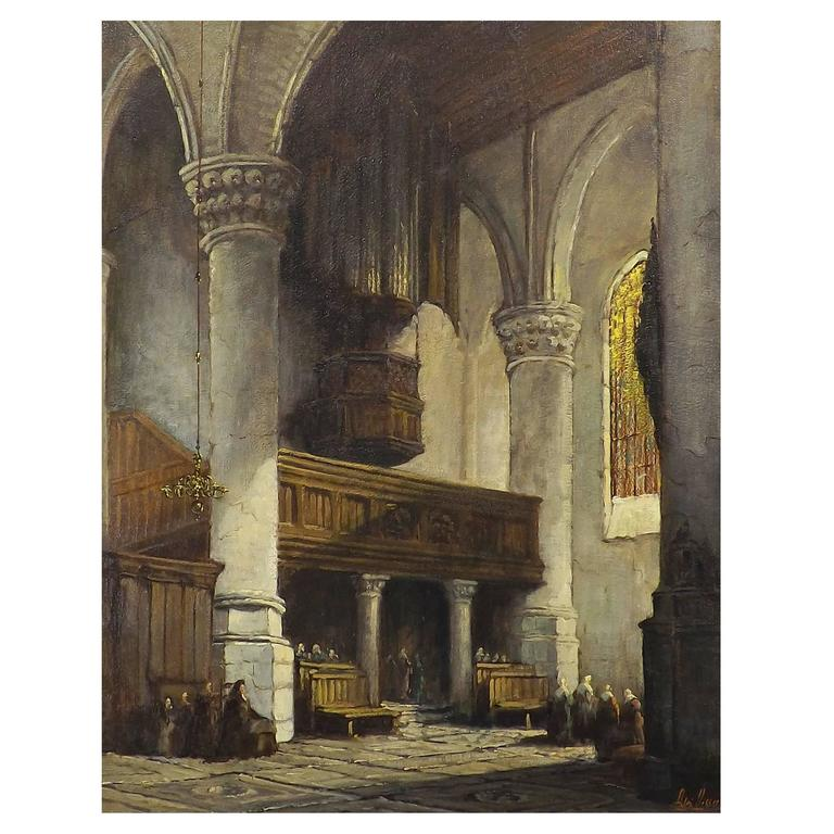 'Sunlit Church' Oil Painting by Adrianus Visser