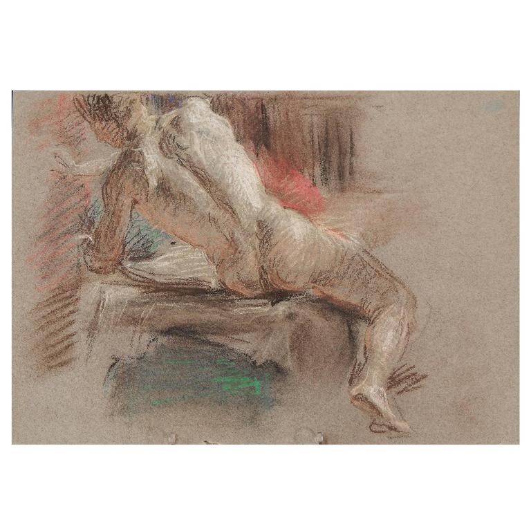 """Seated Male Nude,"" Superb Drawing by Allyn Cox, US Capitol Muralist"