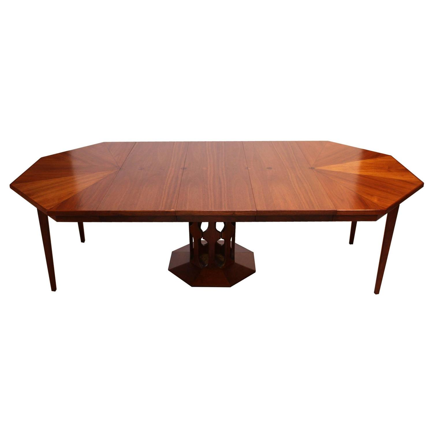 Octagonal Walnut Dining Table Attributed To Harvey Probber