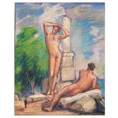 """Nudes Among the Ruins,"" Vivid Mural Study with Male Nudes by Allyn Cox"