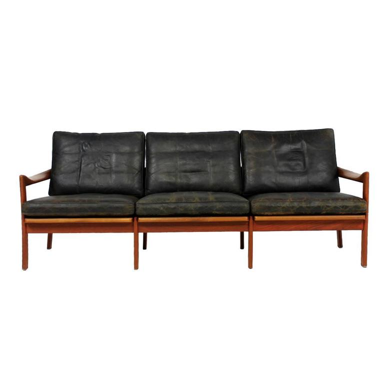 Mid-Century Modern Illum Wikkelso Teak and Leather Sofa ...