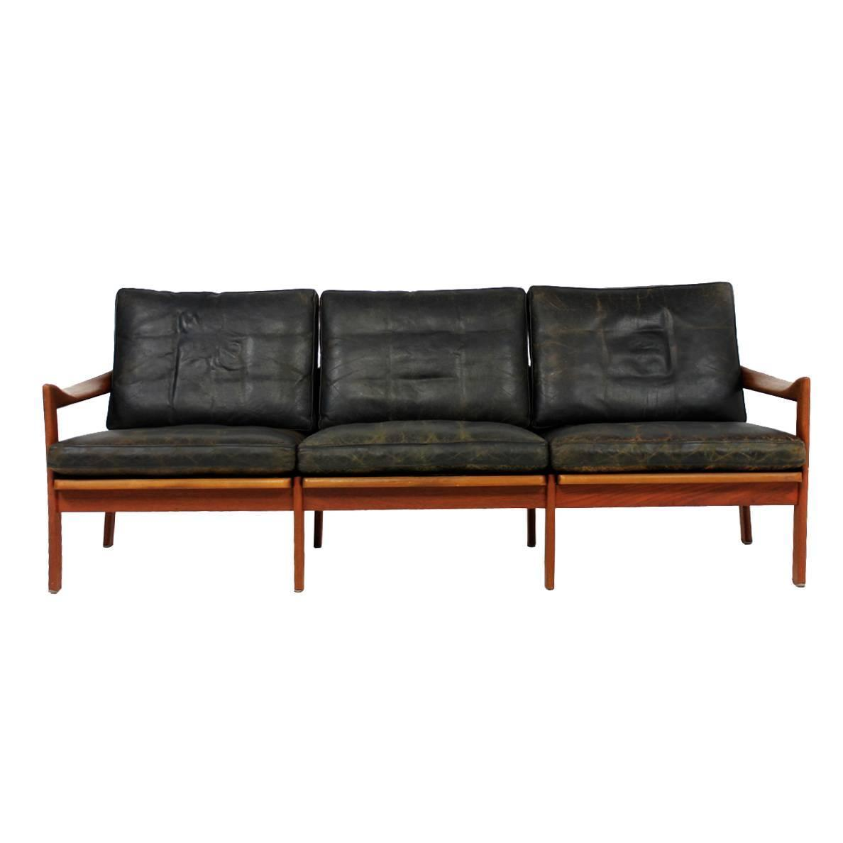 Mid Century Modern Illum Wikkelso Teak And Leather Sofa Danish  ~ Tan Leather Mid Century Sofa