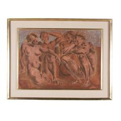 Lithograph, Neoclassical Scene, French, 1950