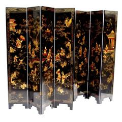 Pair of Chinese Black Lacquer Screens or Room Dividers, circa 1900