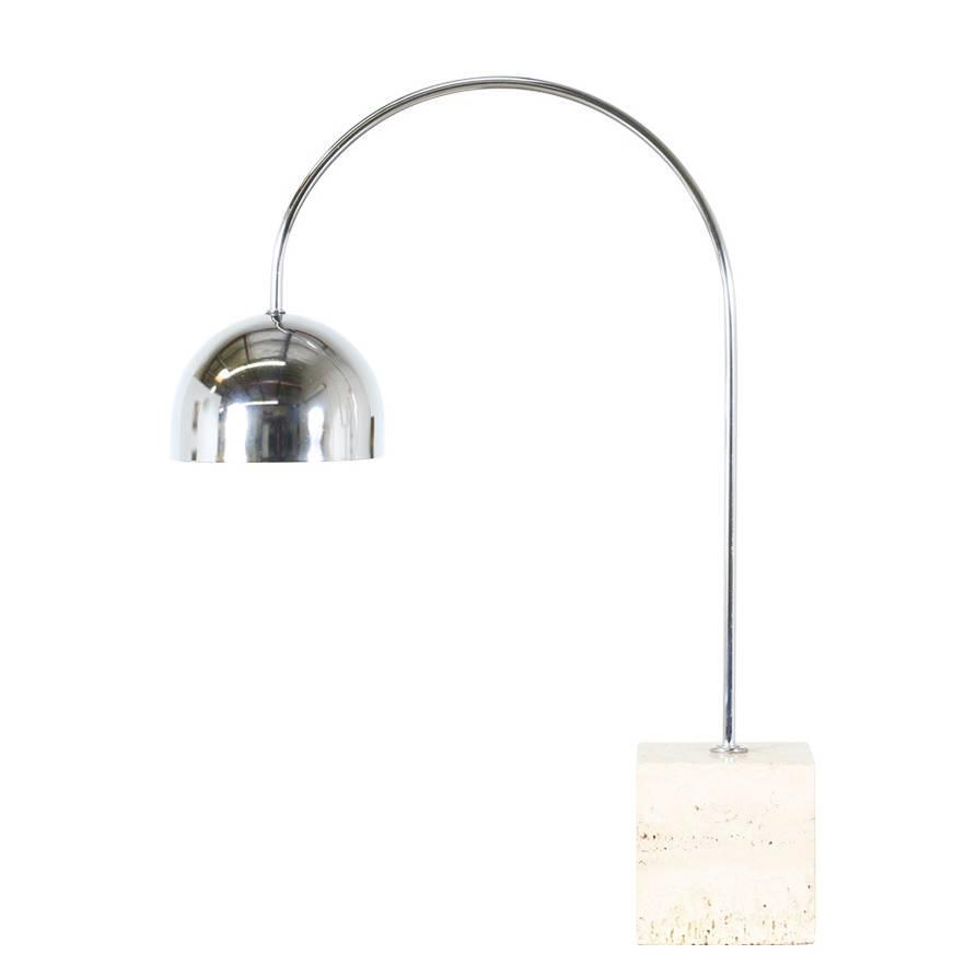 Harvey Guzzini Arc Chrome Table Lamp With Travertine Base