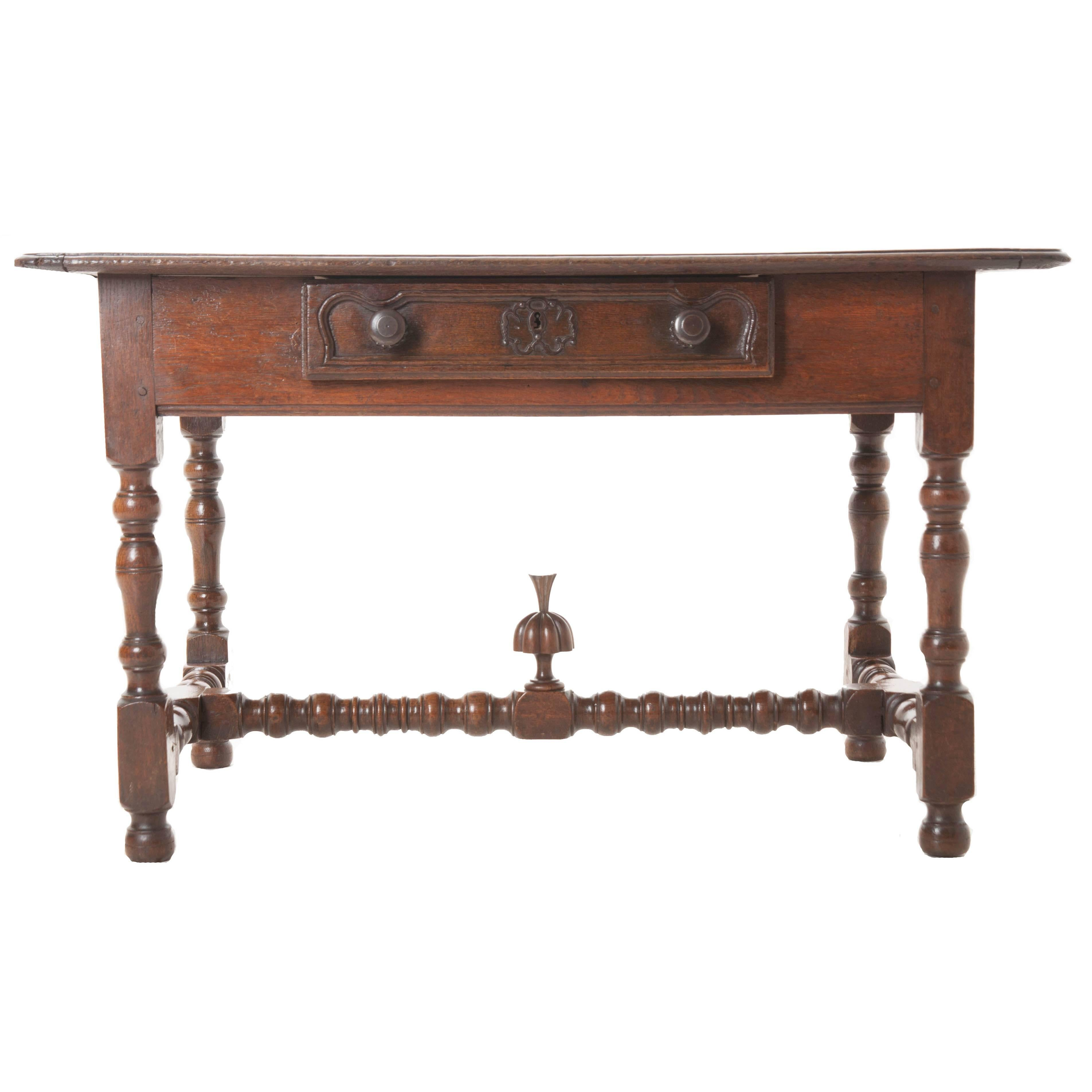 French 18th Century Oak Table with Drawer