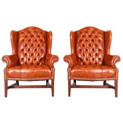 Pair of Chesterfield Leather High Back Chairs