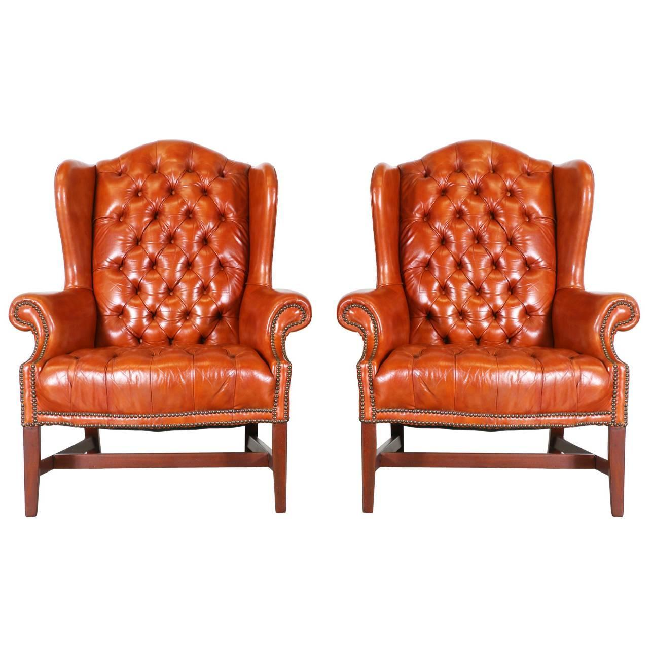 Pair Of Chesterfield Leather High Back Chairs For Sale At 1stdibs