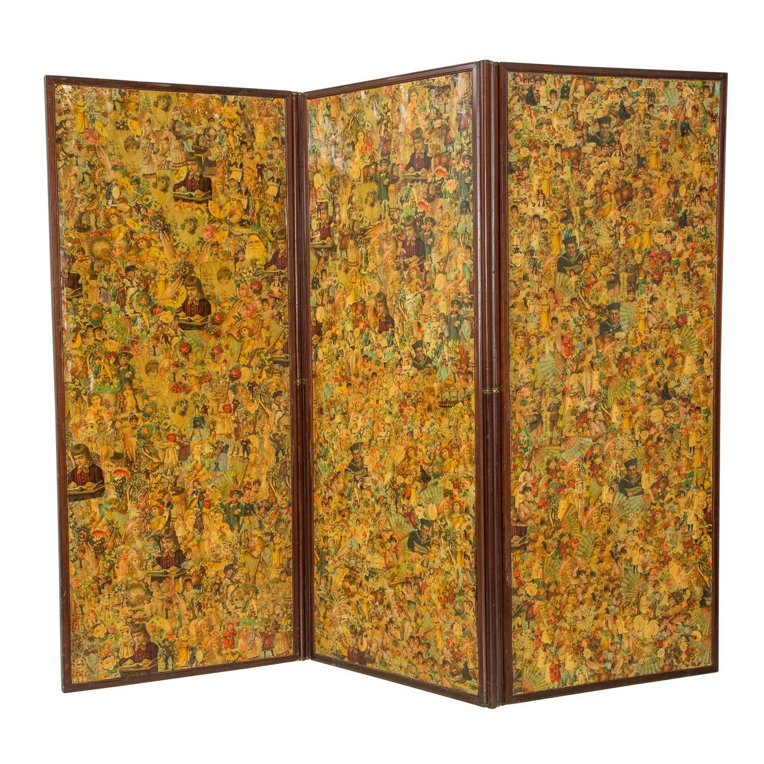 Three Paneled Victorian Decoupaged Room Divider Screen
