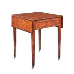 George III Burr Yew Wood Pembroke Table