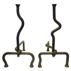 Pair of Contrasting Hand-Wrought Andirons