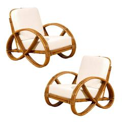 Restored Pair of Vintage Rattan Pretzel Lounge Chairs