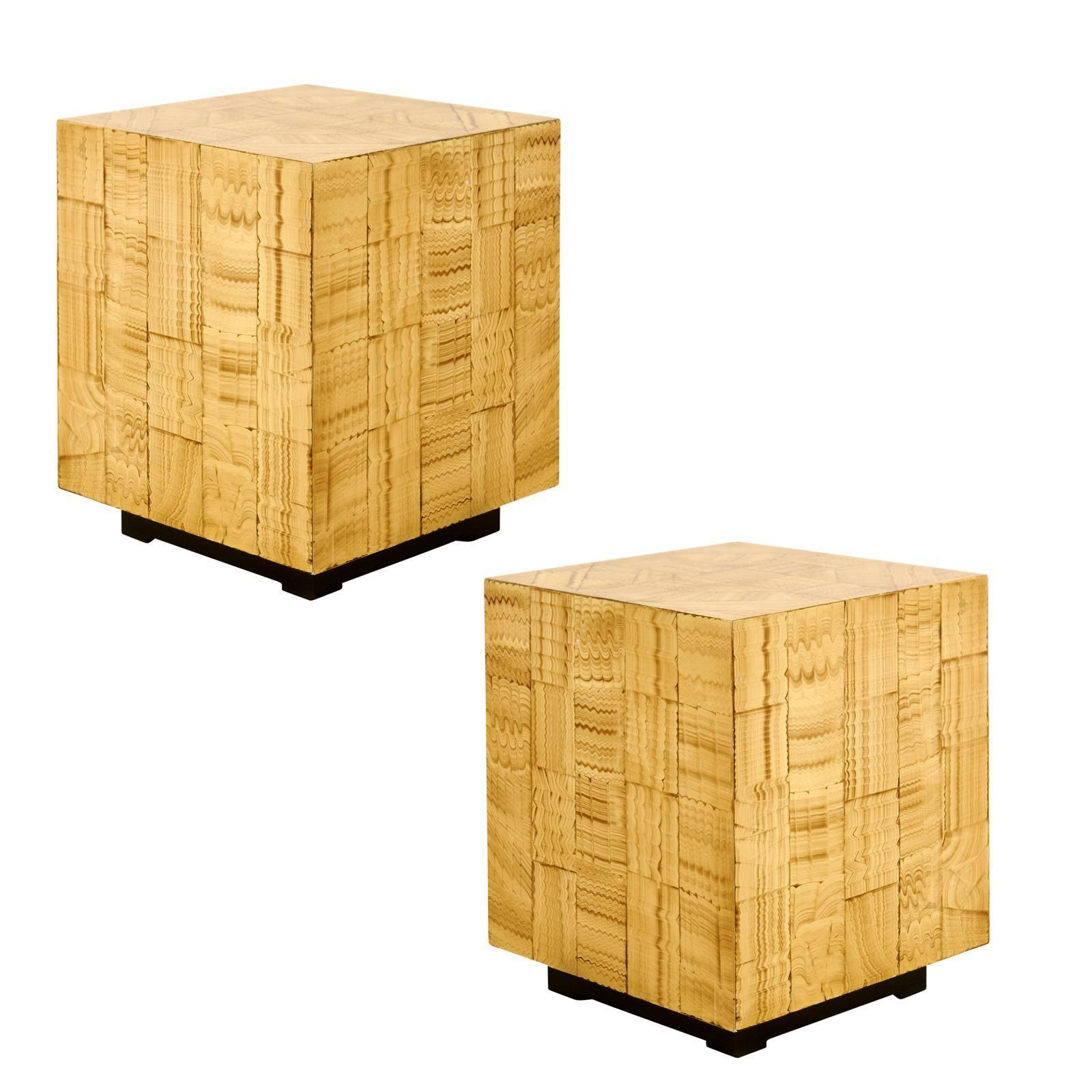 Pair of Hand Lacquered Cubes by Allesandro for Baker