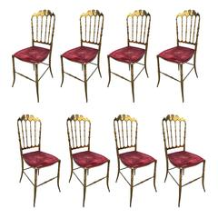 Eight Chairs Brass Decorative, Italian Style, 1950