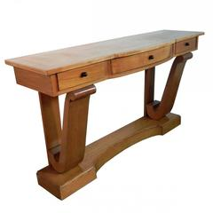Art Deco Ash Veneer Console Table, circa 1940-1950