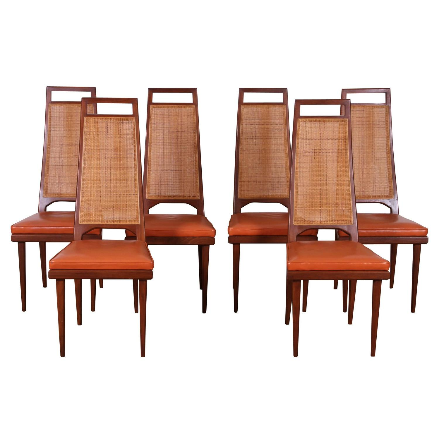 Set of Six Mid Century Cane Back Dining Chairs by Urban