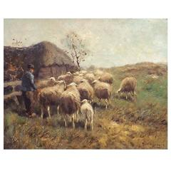 'Tending the Sheep' by Dutch Painter Cornelis Bouter