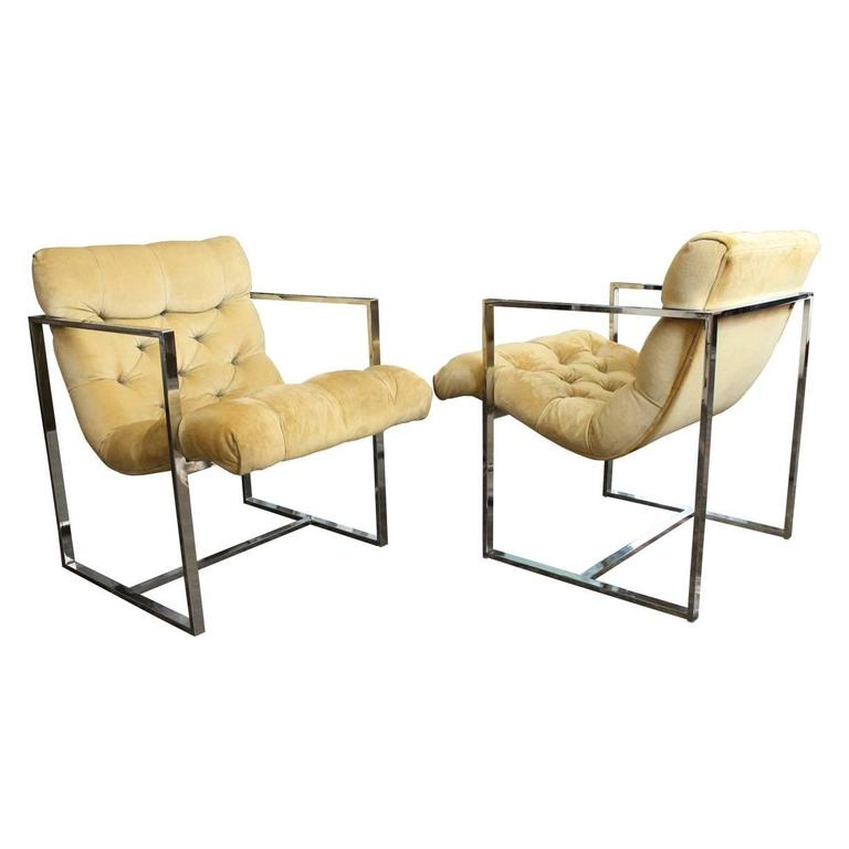 Pair Of Chrome Milo Baughman Scoop Chairs For Sale
