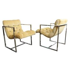 Pair of Chrome Milo Baughman Scoop Chairs