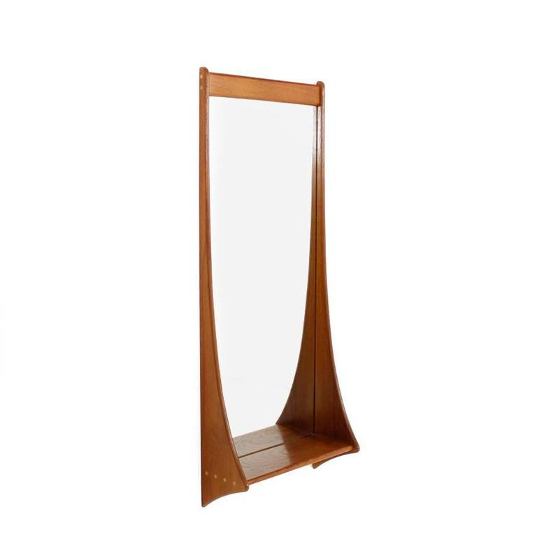 Danish Midcentury Teak Wall Mirror, Pedersen and Hansen, Denmark, 1960s