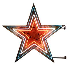 Red, White and Blue Double-Sided Neon Star Sign, circa 1940