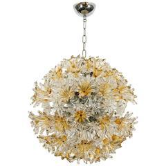Venini Esprit Murano Glass Floral Chandelier