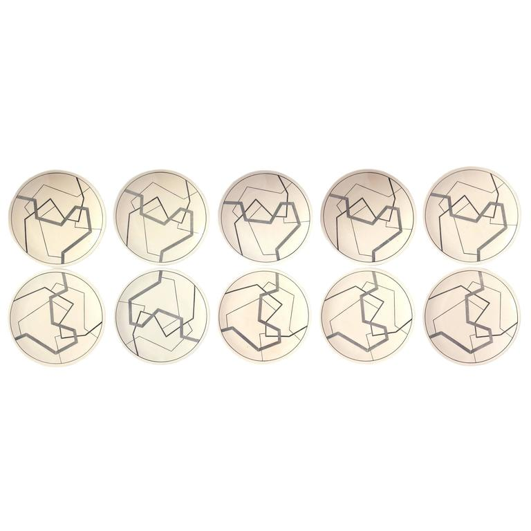 Set of Ten Abstract Longwy Plates - Wall Sculpture