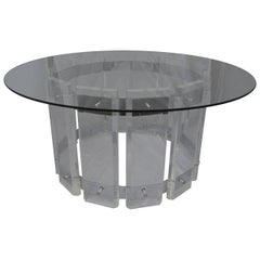American Mid-Century Modern Round Lucite Glass Top Table