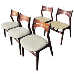 Vintage Five Rosewood Danish Dining Chairs by Erik Buch