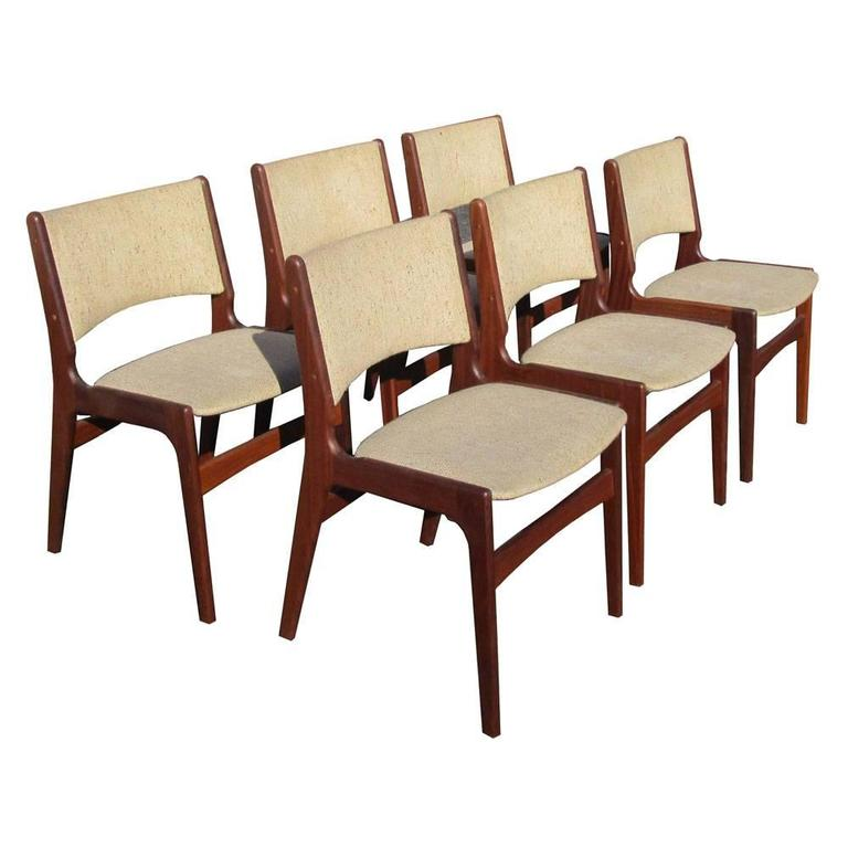 Vintage Set of Six Midcentury Rosewood Dining Chairs by Erik Buch