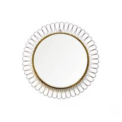 1950s Midcentury Brass Wall Loop Mirror in the Manner of Josef Frank