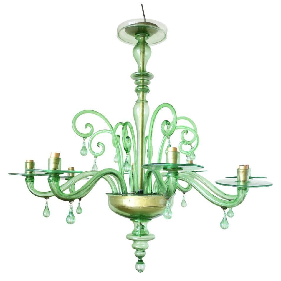 Emerald Green Murano Glass Chandelier by Venini at 1stdibs