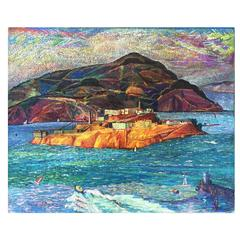Great Colorful Painting of Alcatraz San Francisco