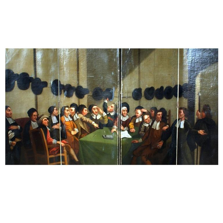 18th century Four-Panel Oil Painting Screen 'The Council'