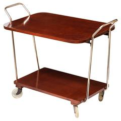 Bar Cart, Wood with Chrome Details, C 1950