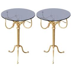 Pair of Gilt Wrought Iron Side Tables