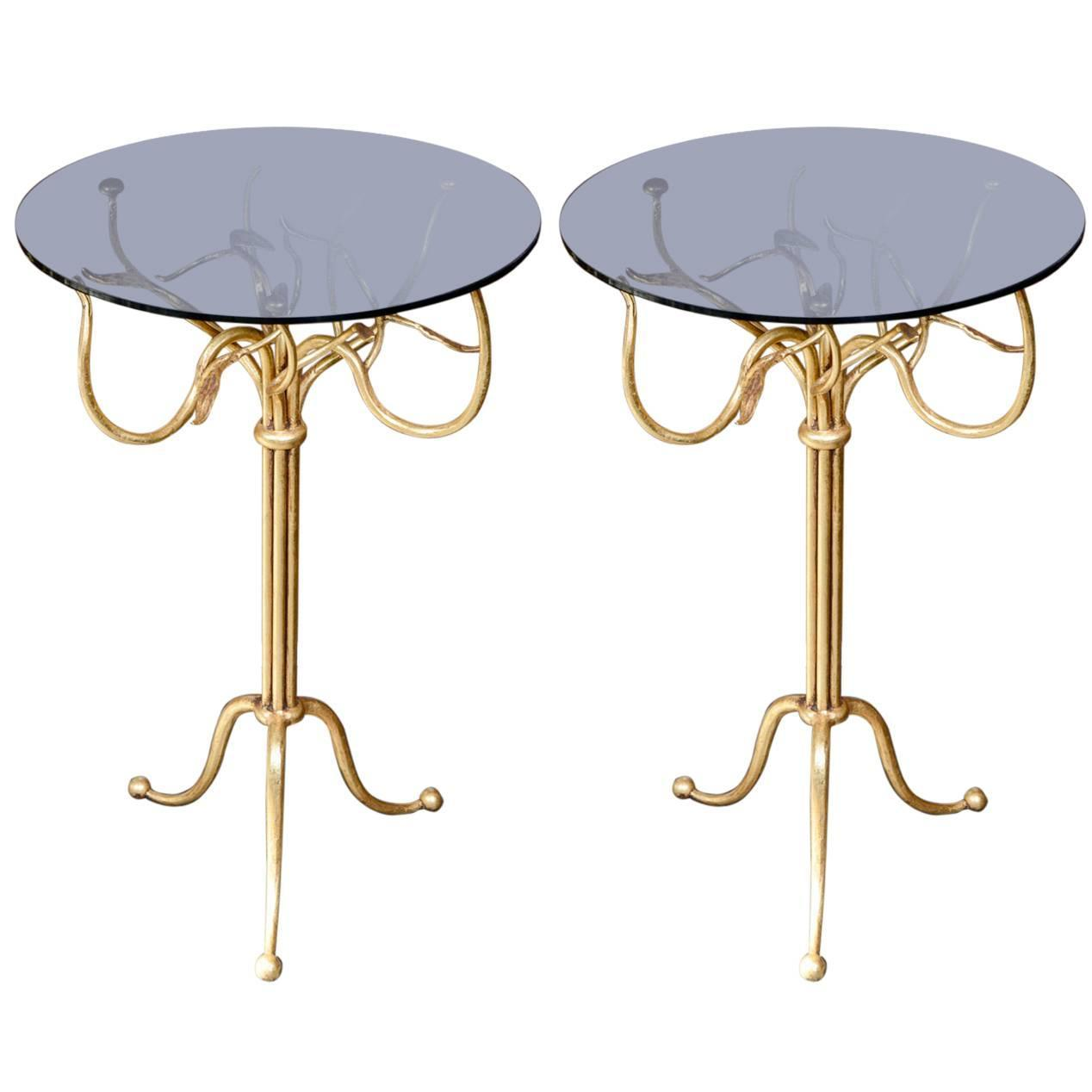 Pair of gilt wrought iron side tables for sale at 1stdibs for Wrought iron side table