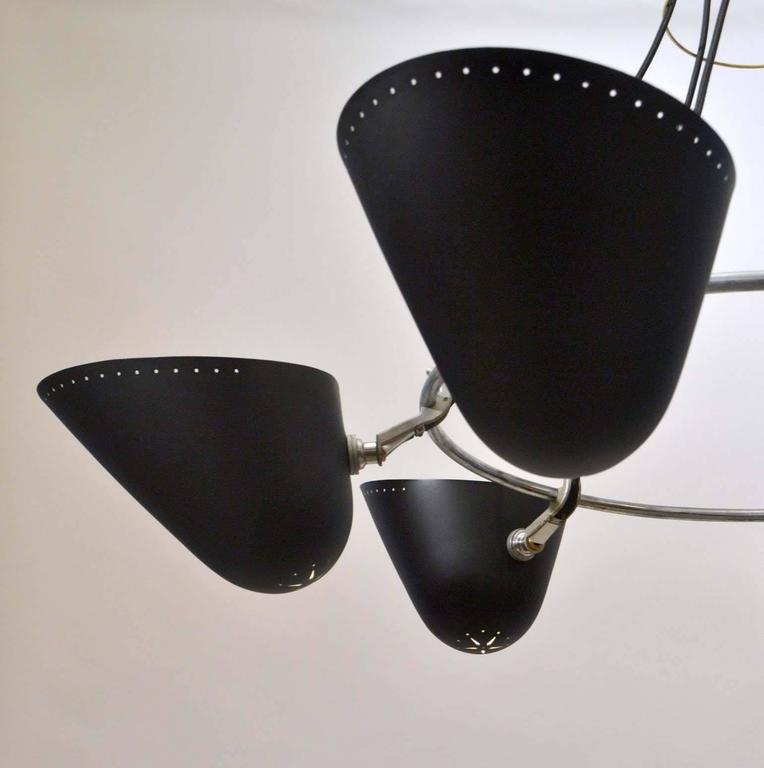 English Large Pair of 1950s Black Metal Chandeliers by A.B. Read for Troughton & Young