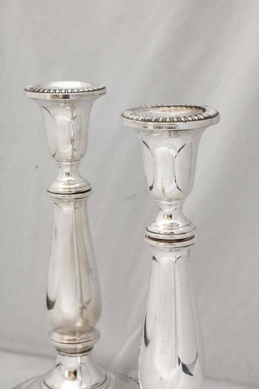 American Empire Empire Style Pair of Sterling Silver Candlesticks For Sale