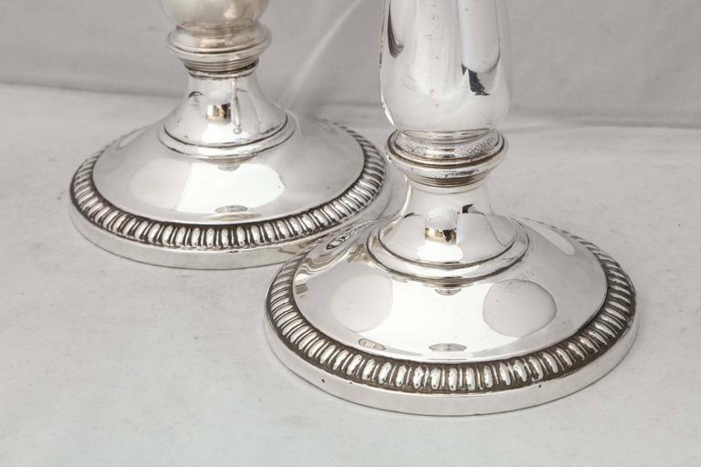 American Empire Style Pair of Sterling Silver Candlesticks For Sale