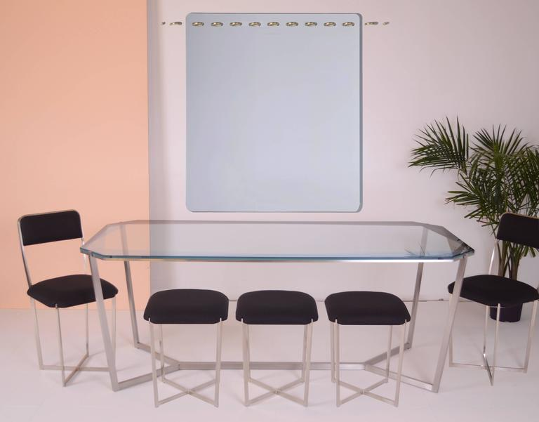 American Gem Rectangular Dining Table/ Blue Glass with Stainless Steel Base by Debra Folz For Sale