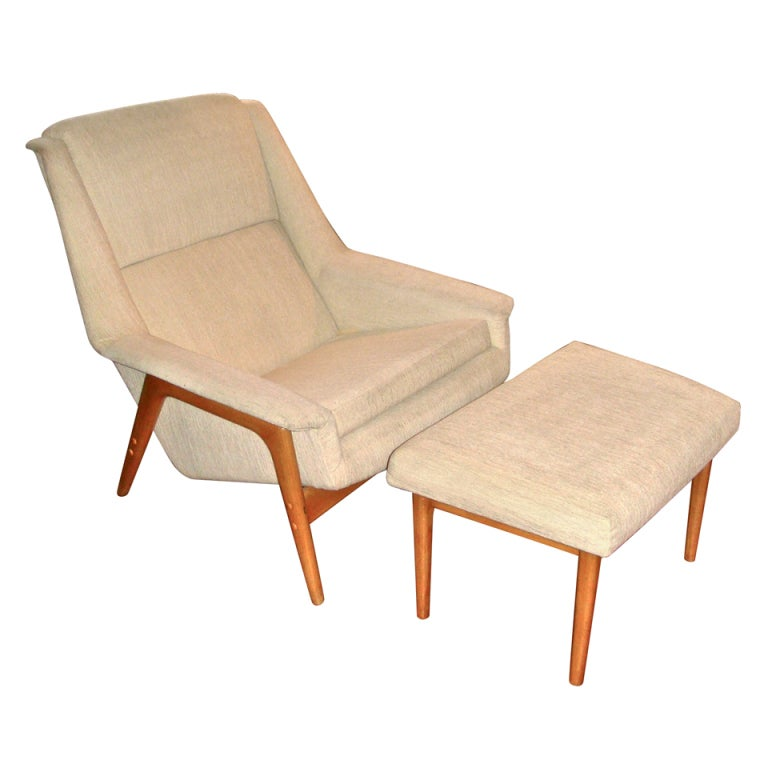Mid Century Chair And Ottoman: Mid Century Chair And Ottoman By Dux At 1stdibs