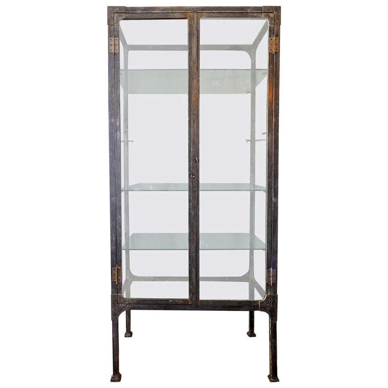 steel and glass vitrine at 1stdibs. Black Bedroom Furniture Sets. Home Design Ideas