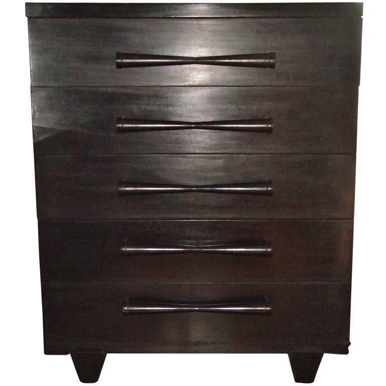 Tall Black Mid Century Dresser At 1stdibs