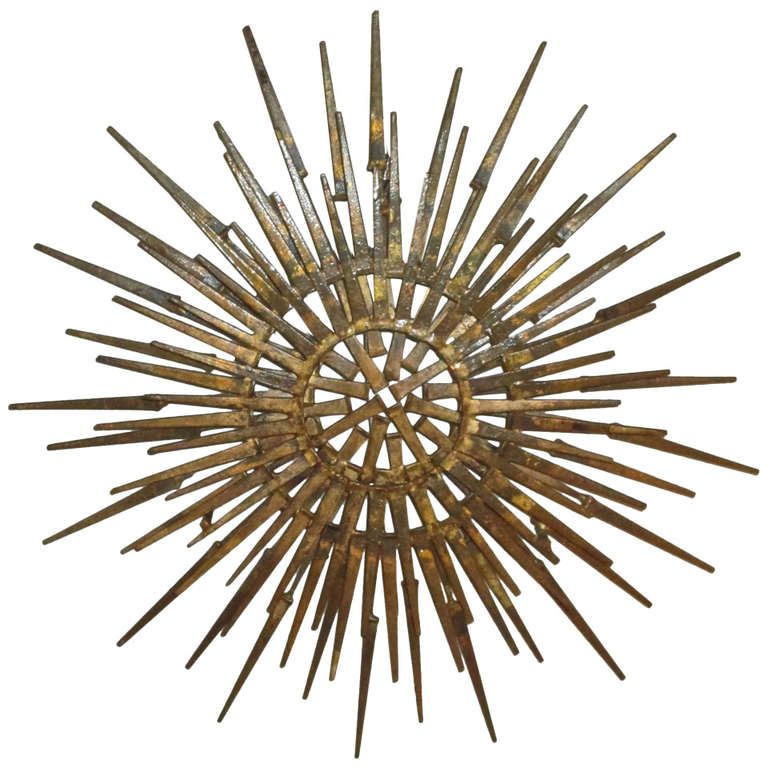 Brutalist metal sunburst sculpture at 1stdibs for Sunburst wall art